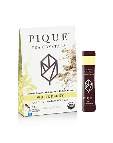 PIQUE Organic White Peony Tea Crystals, Gut Health, Reduced Stress, Antioxidants, 1 Pack (14 sticks) ()