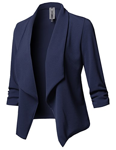 Awesome21 Solid Stretch 3/4 Gathered Sleeve Open Blazer Jacket Navy Size (Navy Blazer)