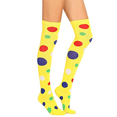Crazy Costumes Ideas (Girls Over Knee High Socks Fun Costume Cosplay Party Stocking,Yellow Polka)
