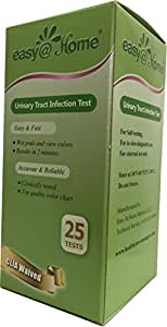 Easy@Home(UTI-25P) Urinary Tract Infection Test Strips (UTI test strips) ,25 tests/bottle - FDA Approved for OTC USE, Urinalysis Test to detect Leukocytes and Nitrite