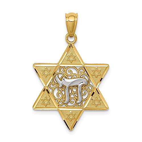 - 14k Two Tone Gold Jewish Jewelry Star Of David Chai Pendant Charm Necklace Religious Judaica Fine Jewelry Gifts For Women For Her