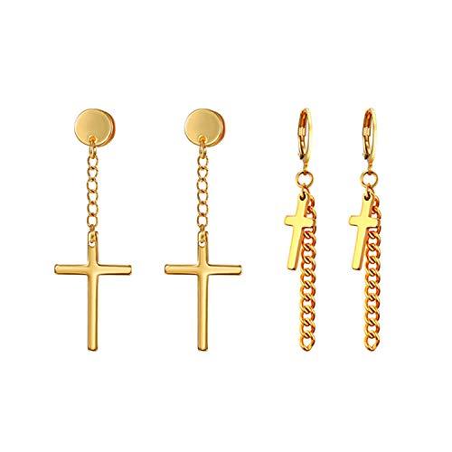 (Cross Tassel Earrings,Flongo Men's Womens Vintage Stainless Steel Cross Dangle Stud Earrings, Religious Christmas Cross Drop Dangle Earrings)