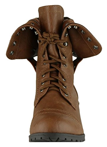 Cambridge Select Womens Fold-Over Cuff Lace-Up Chunky Stacked Heel Combat Boot Tan Pu gbWBwS