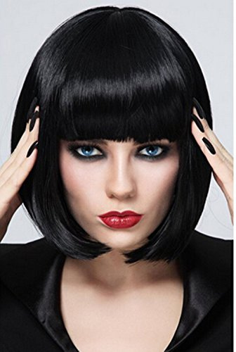 TLT 29cm 114inch Ladies Short Straight Flat Bang Bob Stylish Hair Full Cosplay Wigs BU027