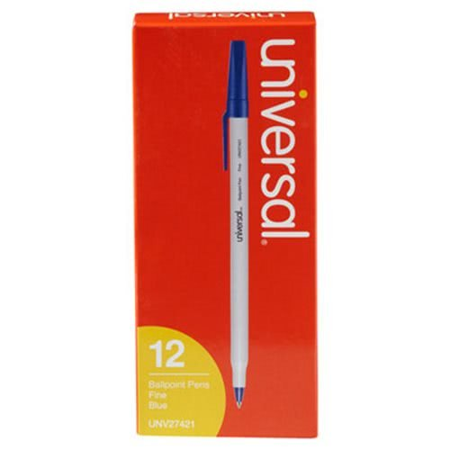 - Universal 27421 Economy Ballpoint Stick Oil-Based Pen, Blue Ink, Fine, Dozen