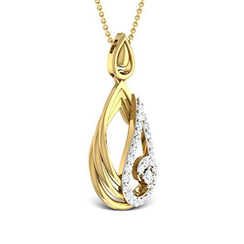 Or blanc 14K 0,31CT TW Round-cut-diamond (IJ | SI) Pendentif