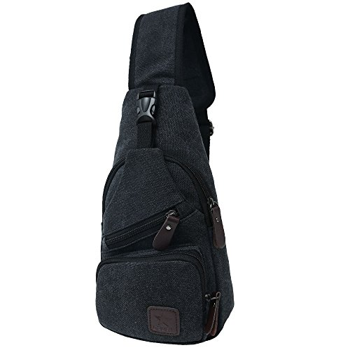 Canvas Chest Pack Crossbody Casual Sling Shoulder Bag(502) (black) by STIUCCE (Image #2)
