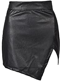 Women's High Waisted Bodycon Faux Leather Mini Pencil Skirt