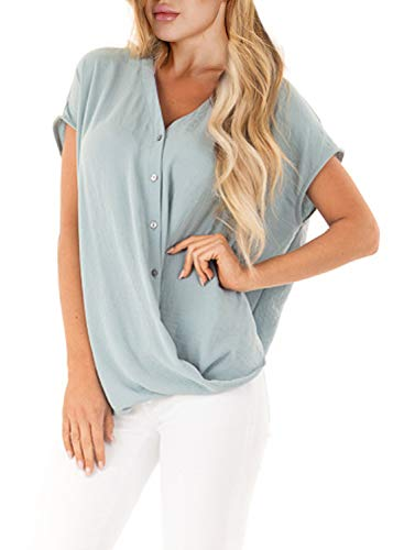 - Ecrocoo Womens Junior Plus Blouses Short Sleeve V Neck Button Down Tee Shirts Tie Front Knot Tops Sky Blue XXL