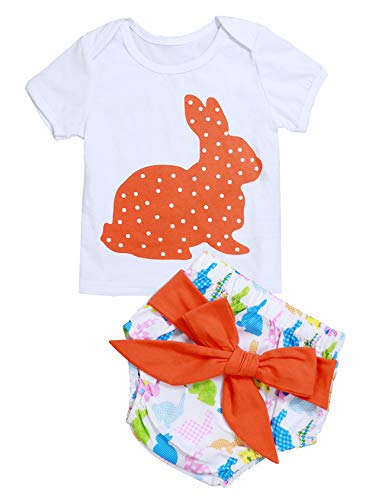 (My 1st Easter Outfits Infant Newborn Baby Girl Bunny Printed Short Sleeve Tops and Bloomer 2pcs Clothes Set)