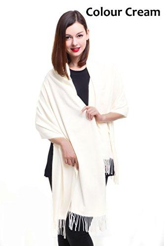 REEMONDE Womens Super Soft Long Shawl Solid Colors Warm Pashmina Big Scarf (Cream)
