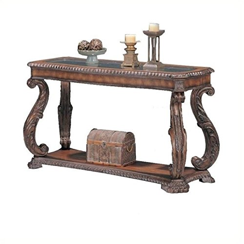 BOWERY HILL Traditional Console Table with Glass Inlay Top