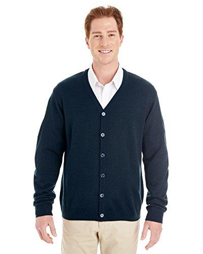 Vest Sweater V-neck Performance (Harriton Mens Pilbloc V-Neck Button Cardigan Sweater (M425) -DARK NAVY -4XL)