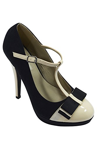 Vintage Inspired Retro Pin-up Black & Cream Two Tone Bow Accent T-Strap Mary Jane Platform Stiletto Pumps (8) ()