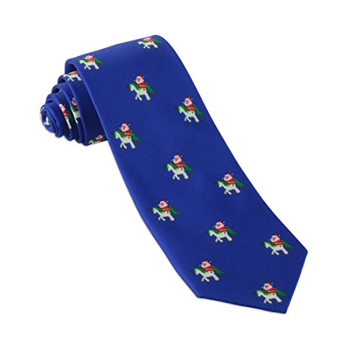 John William Christmas Necktie: Funny Ugly Holiday Tie For Men | Santa Claus Riding Unicorn Necktie - Blue