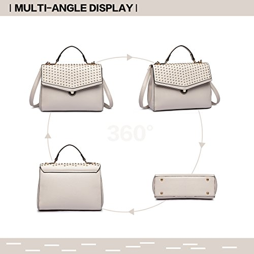 Top 1819 Stylish Beige Handle Bag Crossbody Longsun Satchel Women Leather Handbags Pu Rivet Bag BSgqpq