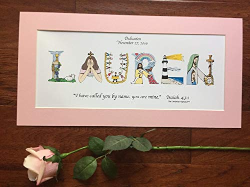 (Baby Dedication Gift for girls or boys - Personalized The Christian Alphabet™ name art for boys or girls, 10x20 matted print, ready-to-frame - free shipping option)