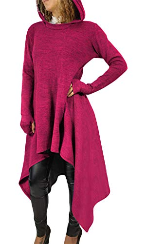 Sprifloral Womens High Low Shirt Tunic Sweatshirts Dress Hoodie with Pocket Peuple -