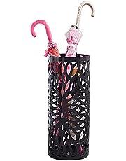 HX paraplyställ paraplyställ metall fristående hållare, för käppar/promenadkäppar, med droppbricka/2 krokar, svart 49 cm x 15,5 cm LUC48B A+ Svart