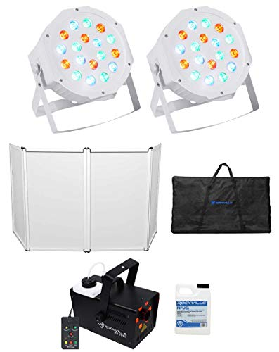 Rockville RFAAW DJ Event Facade Booth+Travel Bag+LED Fogger+Fluid+2) Wash Lights ()