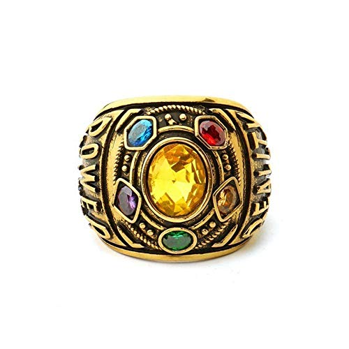 Beppter Infinity Stones Ring,Villain Power Ring Movie Cosplay Golden Ring,Cosplay Costume Prop(Yellow,8) -
