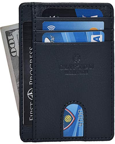 RFID Leather Front Pocket Slim Wallets- Genuine Leather Minimalist Credit Card Holder By Clifton Heritage (Navy Nappa)