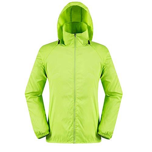 vermers Men Women Lightweight Jackets Outerwear Casual Waterproof Windbreaker Jacket Running Hooded Coat(M, Green)