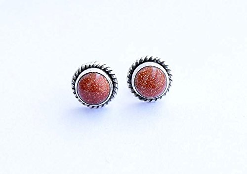 (925 Sterling Silver Sunstone Goldstone Stud Post Earring Gemstone Earring 6 MM Round Girl Women Gift )