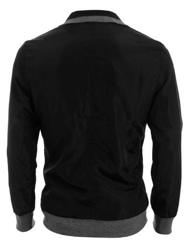 Allegra K - Hommes - Veste bordure tricot nervuré col convertible fermeture éclair - Noir, L (EU 42)