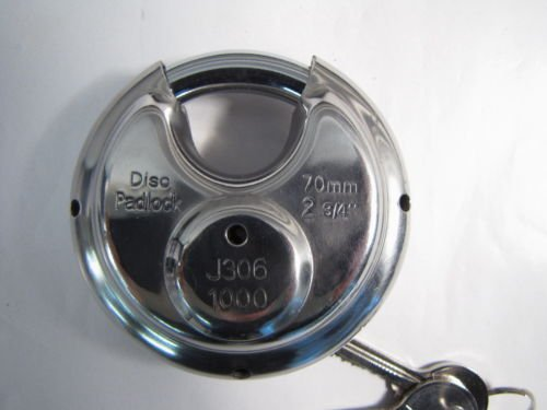 Public Storage   127 Stainless Steel Disc Padlock 2 3 4    70Mm W  Keys New