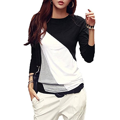 TOOGOO-R-Mujeres-camiseta-Cuello-redondo-de-manga-larga-Basa-la-Blusa-Casual-Tops-Negro-L