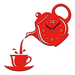 DIY 3D Wall Clock Acrylic Coffee Cup Teapot Shape Decorative Kitchen Wall Clocks Living Room Dining Room Home Decor Clock Stickers Removable ,Red