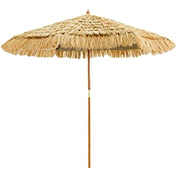 Perfect Caymus 8 Ft Wooden Hula Thatched Tiki Umbrella Hawaiian Style Beach Patio  Umbrella Natural Color 8