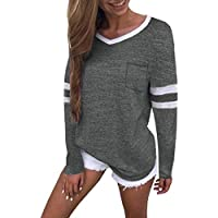 OWMEOT Womens Casual Curved Hem Long Sleeve T Shirt V Neck Side Slit Blouse