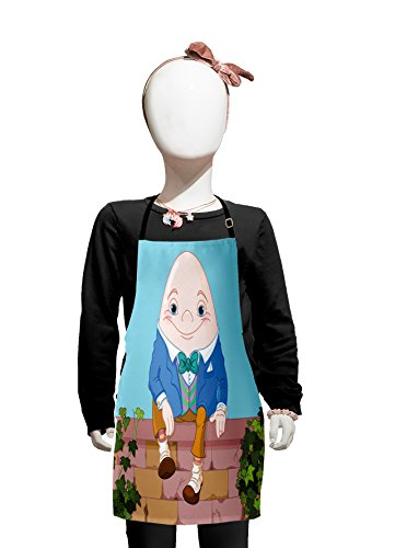 Lunarable Alice in Wonderland Kids Apron, Egg Humpty Dumpty Sitting on Brickwork Wall in Colorful Cartoon Style, Boys Girls Apron Bib with Adjustable Ties for Cooking Baking and Painting, Brown Pink ()