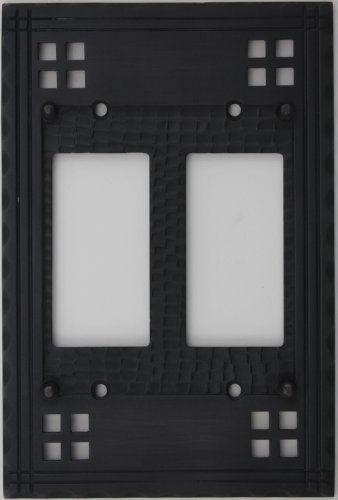 Arts & Crafts Mission Style Oil Rubbed Bronze 2 Gang Switch Plate - 2 GFI/Rocker (Crafts Mission Bronze Finish)