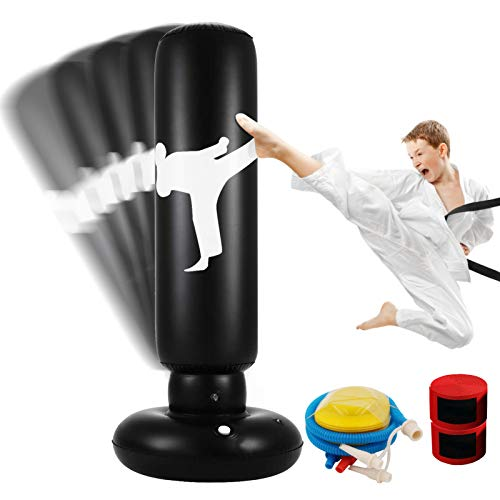 Inflatable Punching Bag, 63 Inch Freestanding Boxing Punching Bag Heavy Duty Fitness Target Stand Tower Bag for Kids…