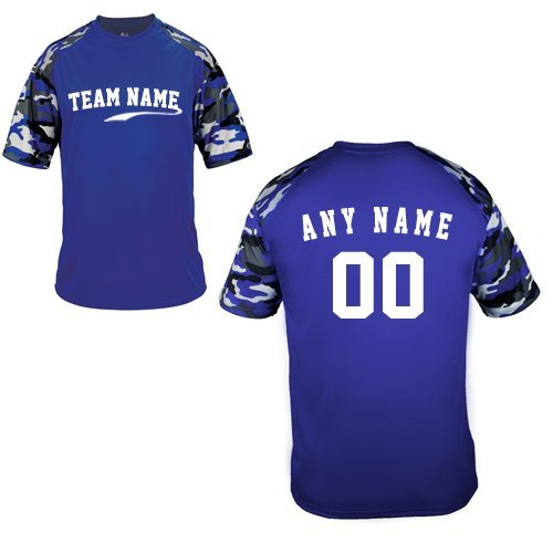 (Custom (Any Team Name Front and/or Name/# on Back) Royal Blue Camo Adult 3X Sleeve Wicking Jersey Uniform Shirt)