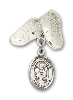 Sterling Silver Baby Badge with St. Raymond Nonnatus Charm and Baby Boots Pin