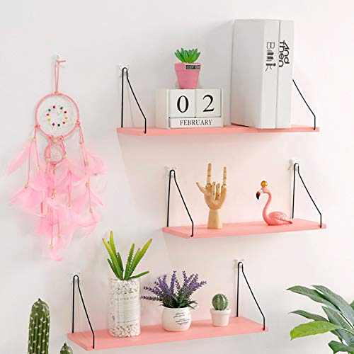NYDZ Simple Nordic Wooden Wall Shelf Solid Wood Word Partition Living Room Wall Decoration Storage Shelf Floating Frame Dark Wood Color Pink (Size : 3 Shelves)