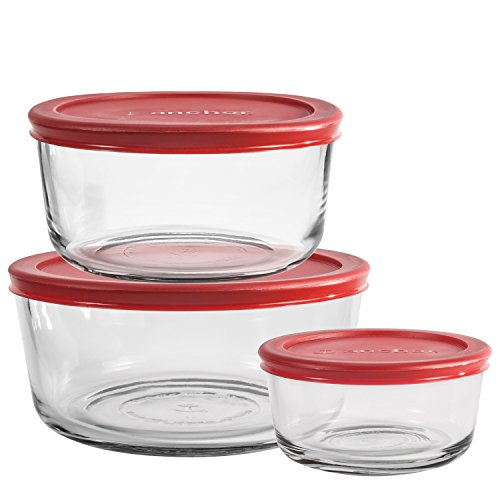 Anchor Hocking Classic Glass Food Storage Containers with Lids, Red, 6-Piece Set