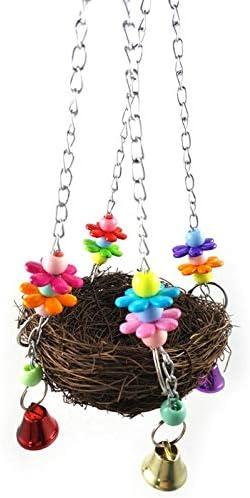 GSDJU Parrot Birds Nest Small Pet Toy Bird Rattan Bite Swing Stand Accesorio de Jaula de pájaros