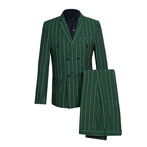 VonVonCo Men's Slim 3-Piece Suit Plaid Blazer Host Show Jacket Coat & Pant & Waistcoat (2XL, Green) ()