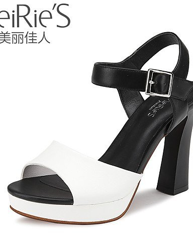 Casual Sandals Blue amp; Leatherette Heels Faux Heel Career White Open Toe Black Women's ShangYi Blue Shoes Leather Chunky Office 6SBxvHnCwq