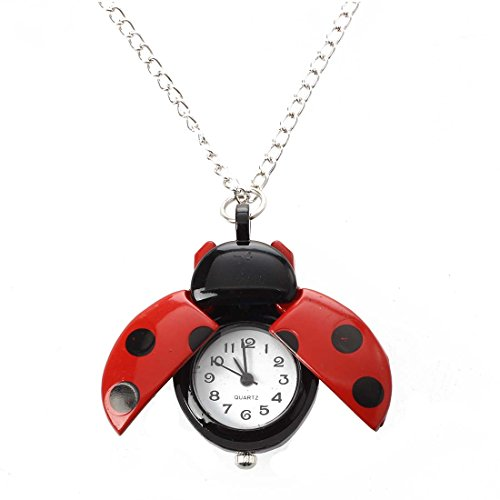 TOOGOO(R) Red Ladybug Necklace Pendant Clock Watch - Watch Necklace Ladybug
