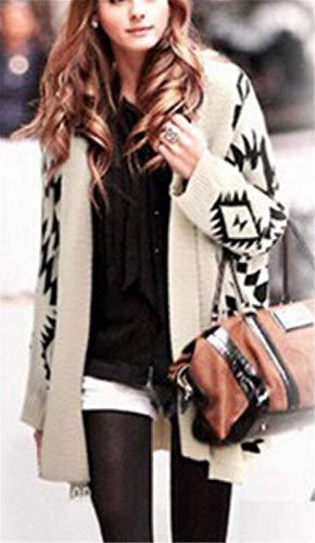 Maglia Outerwear White Giacca Invernali Maniche Geometrico Stlie Comodo Casual Elegante Giubbino Forcella Unique A Donna Fashion Autunno Lunghe Relaxed Aperto Cappotto Pattern Pullover 551BwUxrfq