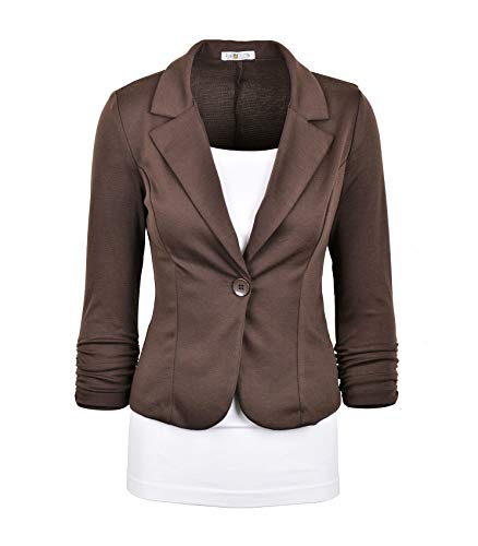(Auliné Collection Women's Casual Work Solid Color Knit Blazer Brown)
