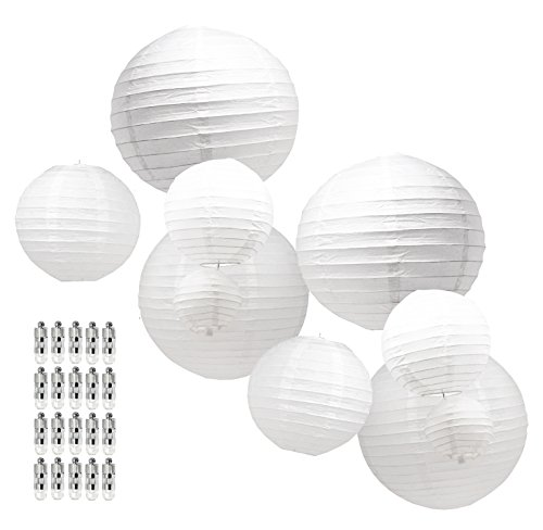 Mudra Crafts White Black Decorative Hanging Round Pastel Paper Lanterns with Led Light Bulb and Battery Set (White 12 10 8 6 4 inches) (Round Paper Battery Lantern)