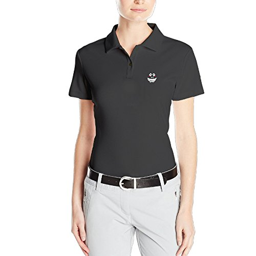 yque56-woman-cute-face-mesh-polo-black-size-m