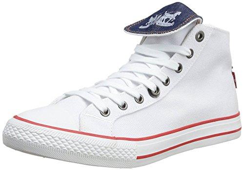 Levi's Manlo Park Blanco Rojo Canvas HombresHi Fold Formadores Zapatos Botas